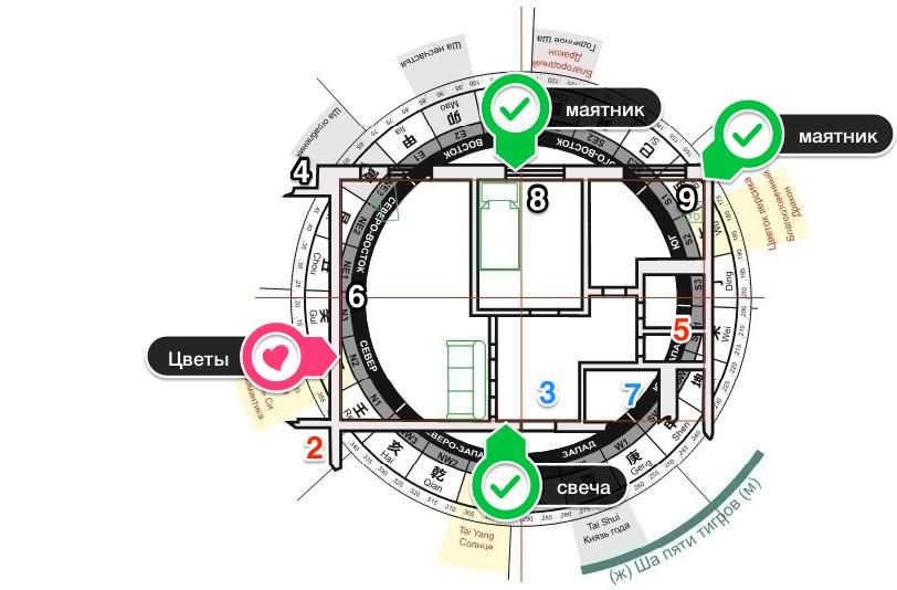 Картинка план с энергиями года, летящими звездами и местами для проведения активизаций